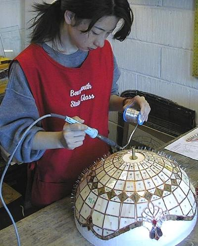 Kunie starts to solder her Tiffany Lampshade
